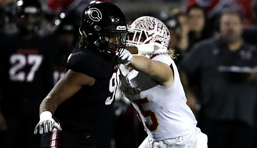 Korey Foreman, left, and Centennial's defense should provide an ample test for Mater Dei.