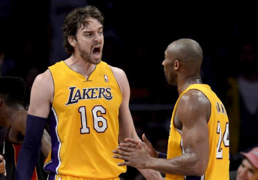 Pau Gasol reacts to being called for a foul against the Miami Heat on Thursday.