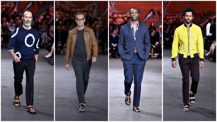 Roman Alonso, from left, Philippe Vergne, Kori Newkirk and Ari Taymor were among the local men who took a runway turn at Hermès' Dwntwn Men event in Chinatown.