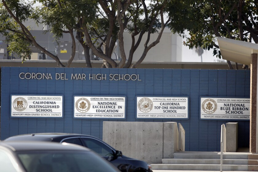 Corona del Mar High School is known for its high academic standards.