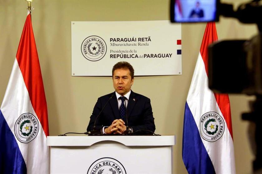 The chancellor of Paraguay, Luis Castiglioni, gives a press conference on Feb 5, 2019 at the presidential residence of Mburuvicha Roga in Asunción (Paraguay). EPA-EFE/Andrés Cristaldo