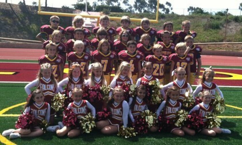 The Torrey Pines Pop Warner Mighty Mite Falcon team.