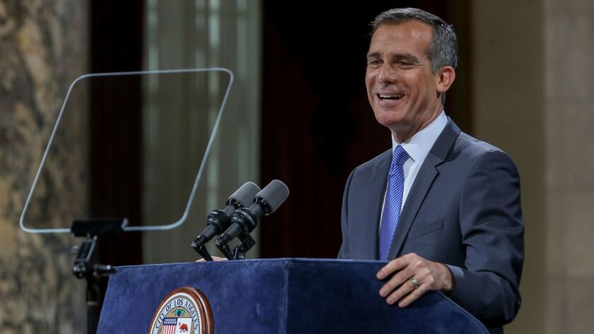 Mayor Eric Garcetti gives his State of the City speech Thursday at the Los Angeles City Hall council chambers.