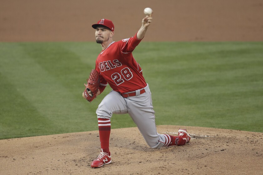 Los Angeles Angels pitcher Andrew Heaney works against the Oakland Athletics.