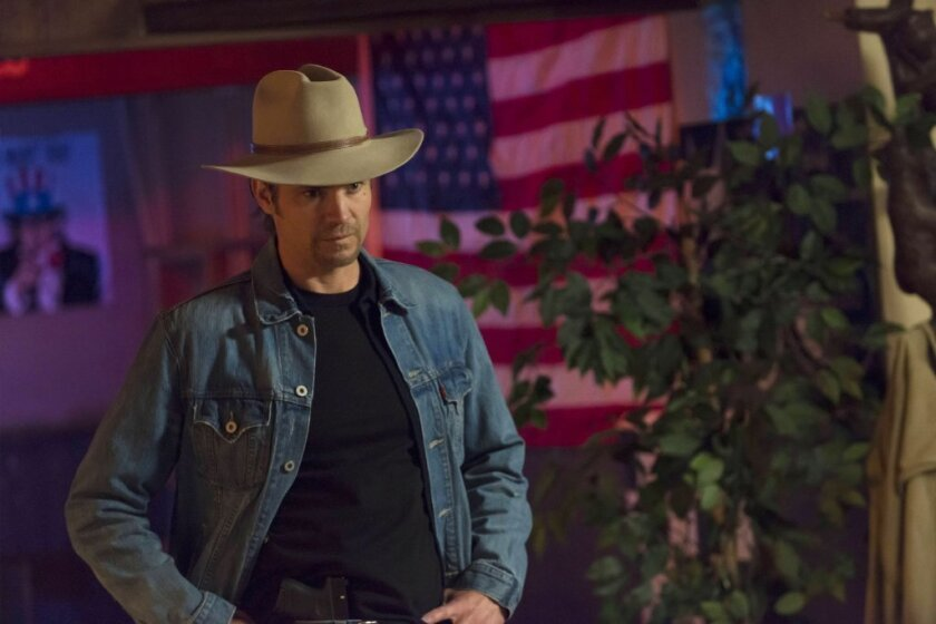 """Timothy Olyphant portrays Raylan Givens in FX's """"Justified,"""" a TV series that sprang from an Elmore Leonard short story."""