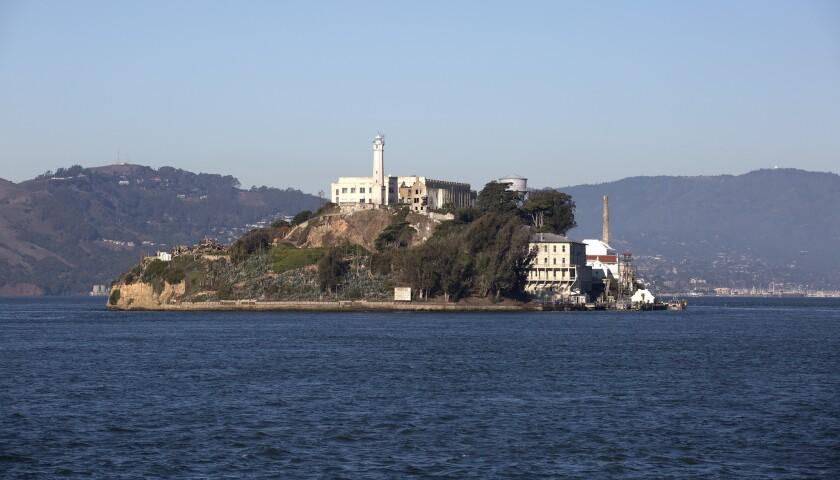 """SAN FRANCISCO, CALIF. -- THURSDAY, NOVEMBER 12, 2015: Alcatraz Island, """"The Rock"""" a former federal p"""