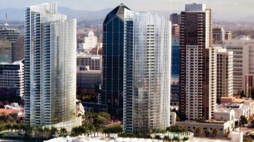 Three Bosa Development condo towers downtown are,  from right to left,  Electra, completed to incorporate the SDG&E Station B plant; Pacific Gate, now under construction; and a third unnamed tower.  The building with the pointed top is the America Plaza office tower.