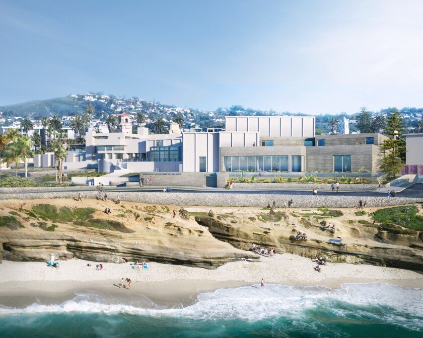 A rendering shows a seagull's-eye view of the renovation of the Museum of Contemporary Art San Diego's La Jolla location.