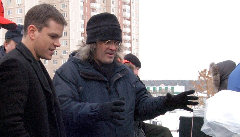 "Matt Damon, left, and director Paul Greengrass on the set of ""The Bourne Supremacy,"" which came out in 2004."