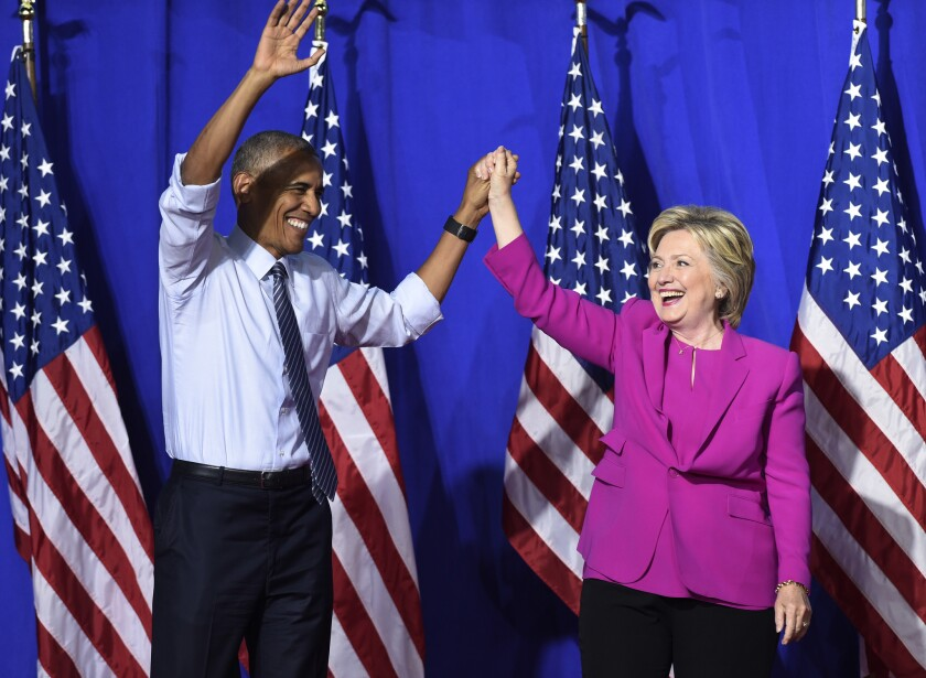 President Obama campaigns for the first time for Hillary Clinton in Charlotte, N.C., this month.
