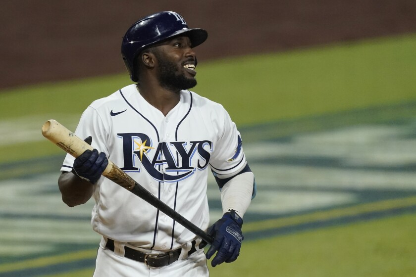 Randy Arozarena of the Tampa Bay Rays reacts during the fifth inning in Game 7 of the American League Championship Series.