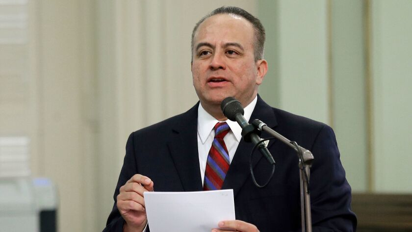 Assemblyman Raul Bocanegra, D-Los Angeles, speaks at the Capitol in Sacramento, Calif. on May 4.