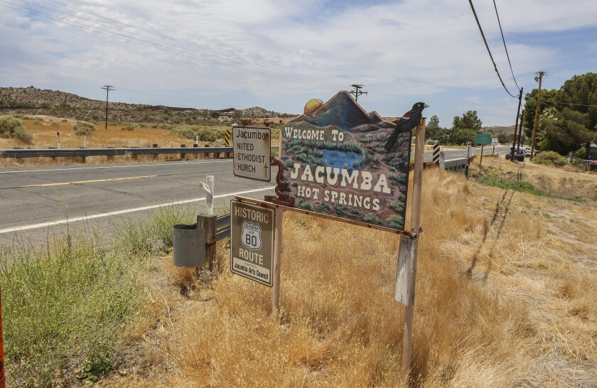 Signage along Old Highway 80 at the east end of Jacumba Hot Springs.