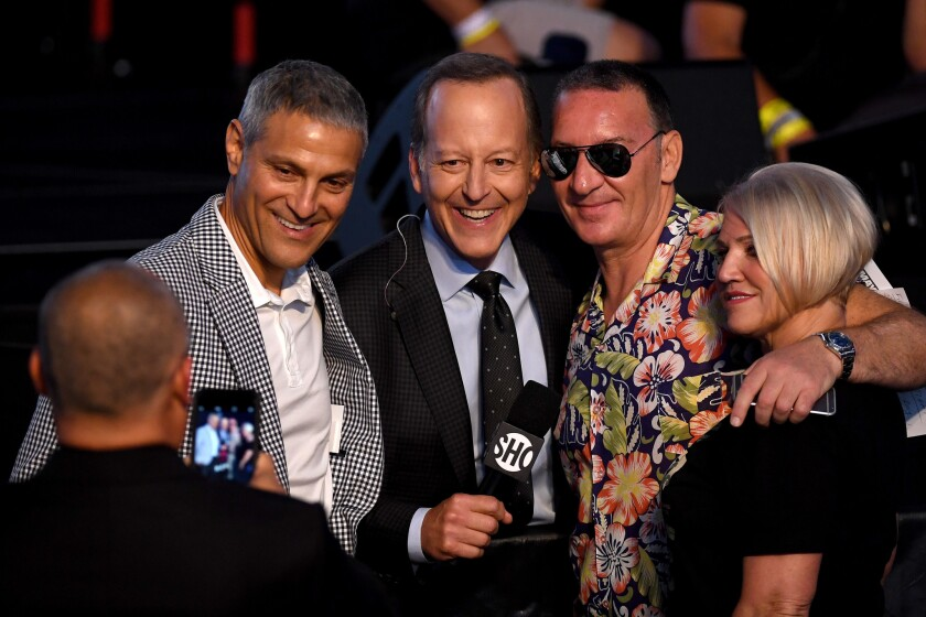 Ari Emanuel of WME-IMG, from left, sportscaster Jim Gray, and Tony and Margaret McGregor  at Vegas' T-Mobile Arena in August 2017.