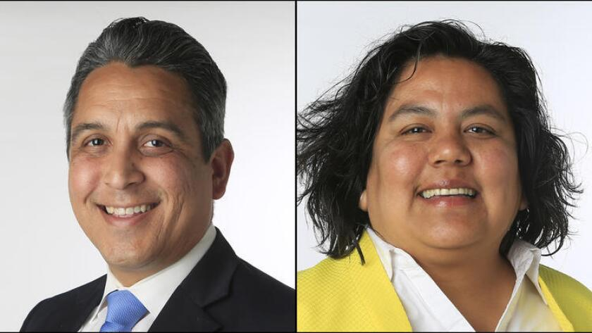 District 9 City Council candidates Ricardo Flores and Georgette Gomez