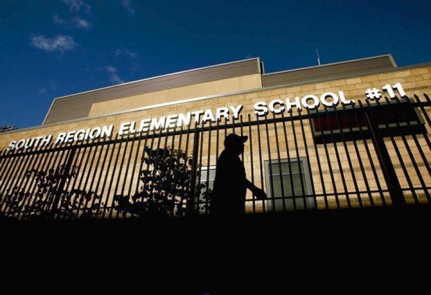 South Region Elementary School #11, L.A. Unified's newest campus, recently opened. The principal said it would be re-named after a suitable moniker is decided upon.