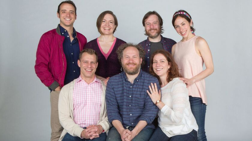 """The cast of the Old Globe's """"The Imaginary Invalid,"""" including co-directors Noah Brody (front left)"""