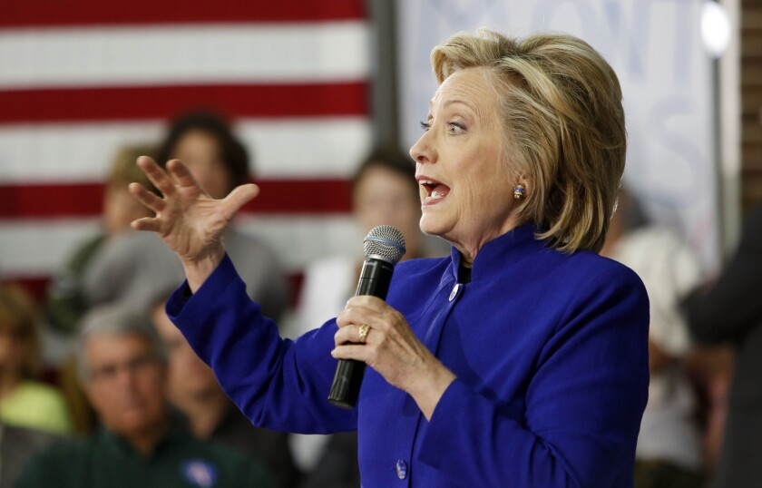 Democratic presidential candidate Hillary Rodham Clinton campaigns in New Hampshire on Tuesday.