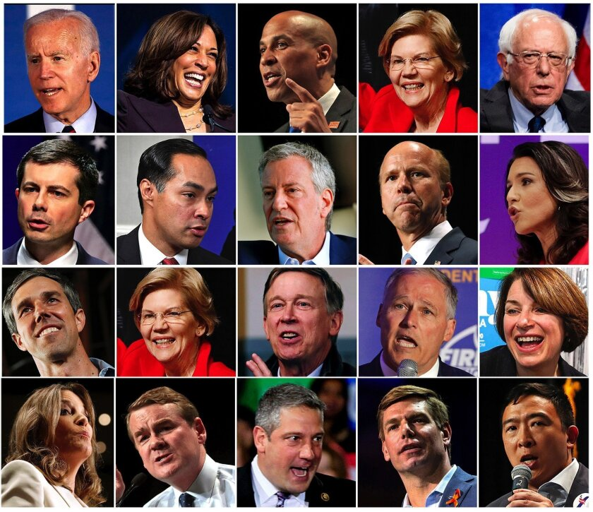The 20 democratic candidates who qualified to participate in the first debate for the 2020 presidential nomination.