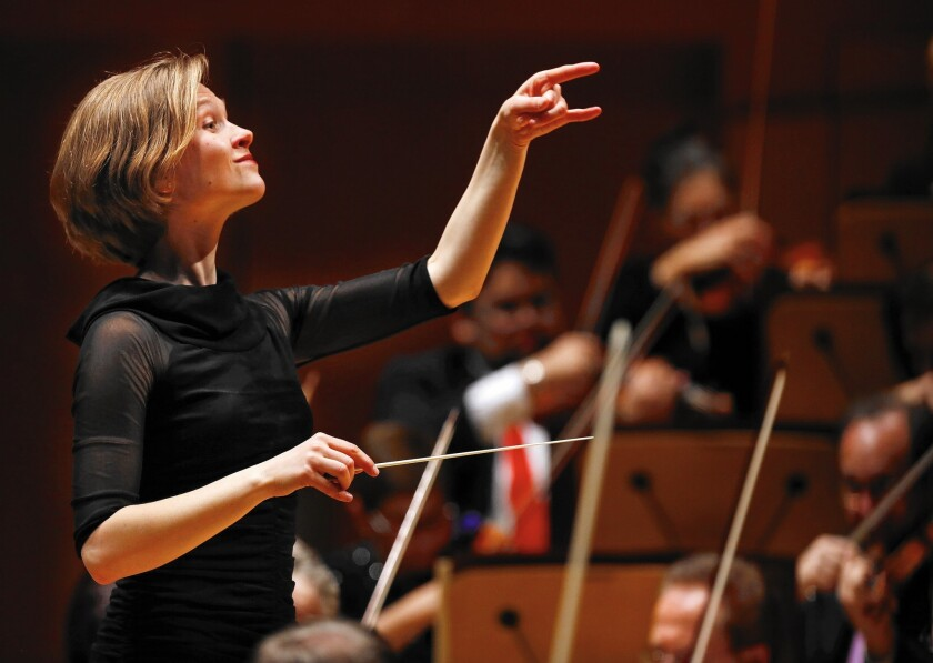 Mirga Grazinyte-Tyla keeps the momentum going as she conducts the L.A. Phil at Disney Hall.