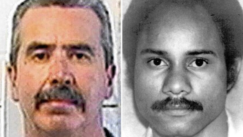 Jesus Cecena, left, in a prison photo, was 17 when he killed San Diego police Officer Archie Buggs in 1978.