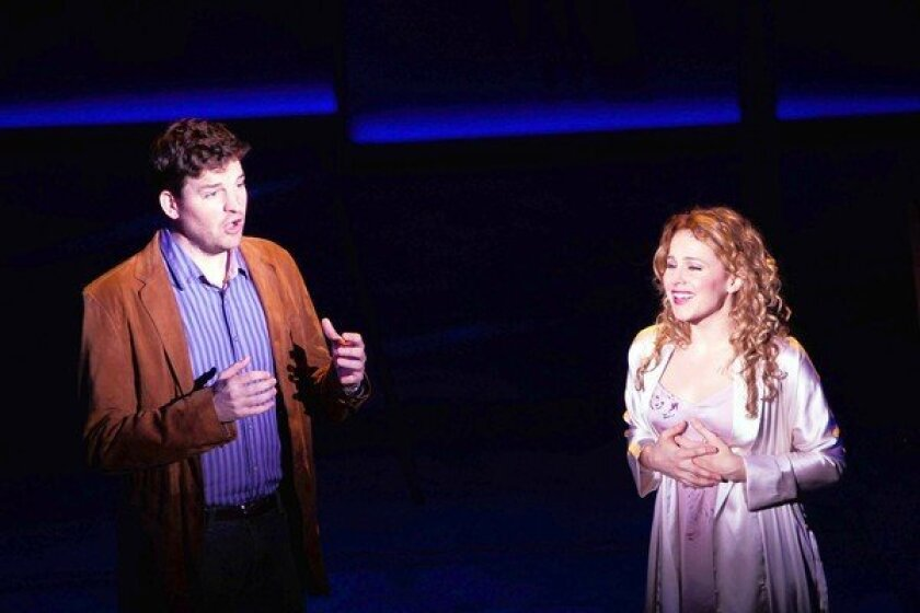 "Tim Martin Gleason and Chandra Lee Schwartz star in ""Sleepless in Seattle -- The Musical."""