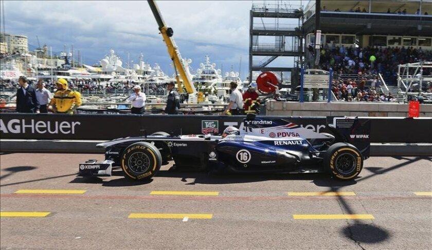 El piloto venezolano de Fórmula Uno, de Williams, durante la sesión de entrenamientos en Montecarlo. EFE