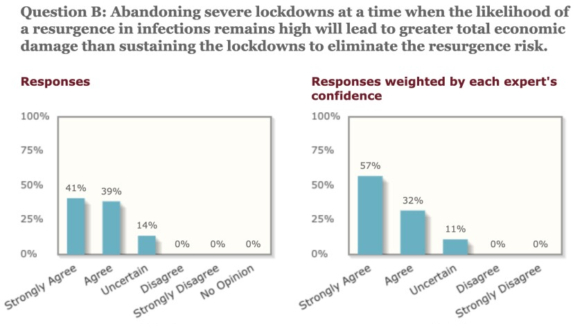 Economists polled by the University of Chicago overwhelmingly warned against lifting anti-virus lockdowns too soon.
