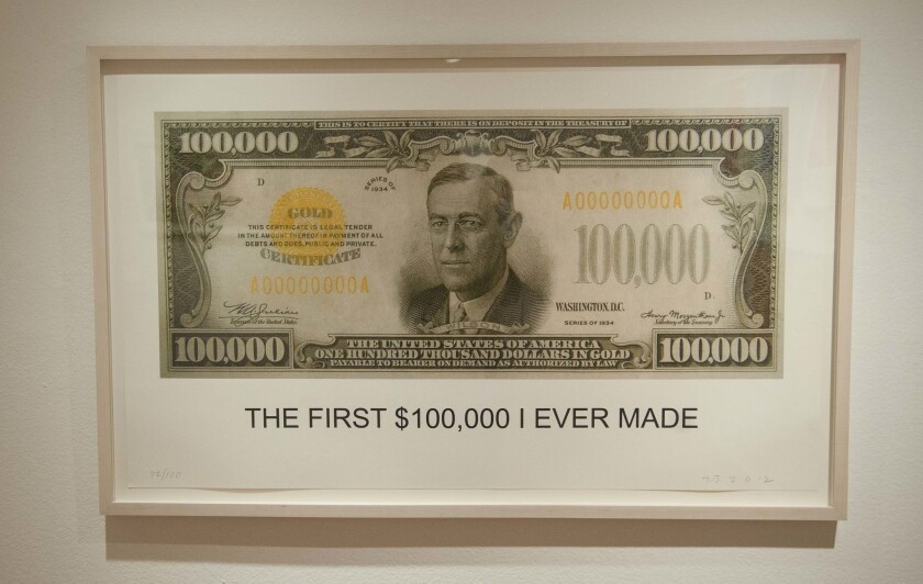 """The First $100,00 I Ever Made,"" a 2012 lithograph by John Baldessari on view at the Laguna Art Museum."