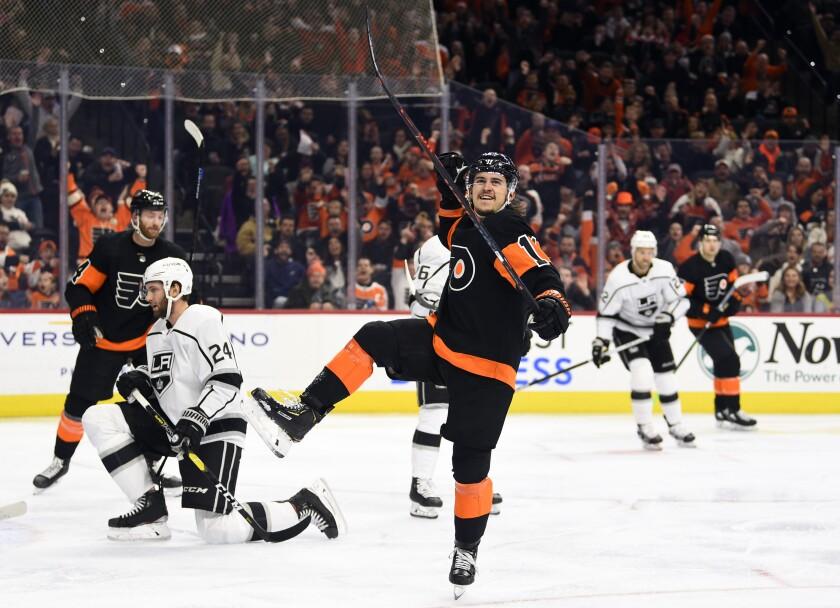 Philadelphia Flyers' Travis Konecny celebrates after scoring a goal during the second period of an NHL hockey game against the Los Angeles Kings, Saturday, Jan. 18, 2020, in Philadelphia. (AP Photo/Derik Hamilton)