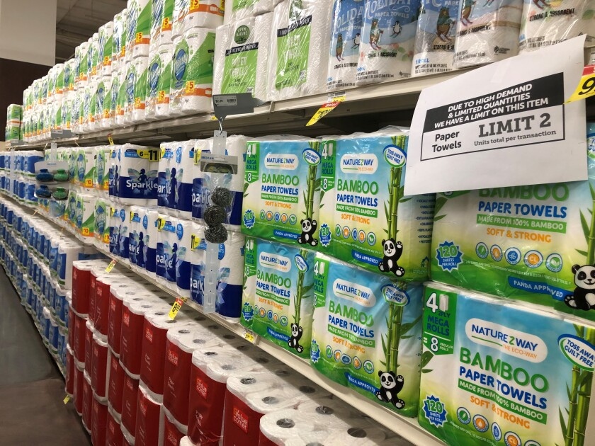 Shelves of paper towels at the Albertsons store in downtown San Diego.
