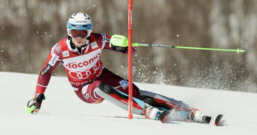 Henrik Kristoffersen of Norway competes in the first run during the men's slalom at the FIS Alpine Ski World Cup Sunday, Feb. 14, 2016, in Yuzawa, northern Japan. Kristoffersen finished seventh. (Yusuke Ogata/Kyodo News via AP)  JAPAN OUT, MANDATORY CREDIT