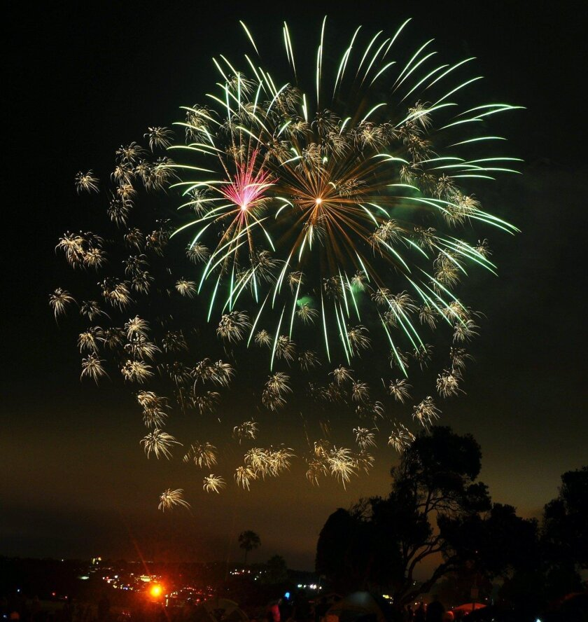 Fourth of July fireworks wow a crowd of thousands at La Jolla Cove.