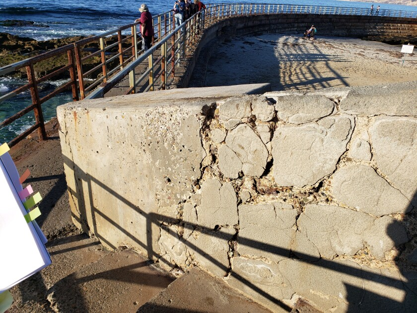 Pictured in November 2019, cracks in support walls have deepened and expanded since last year.