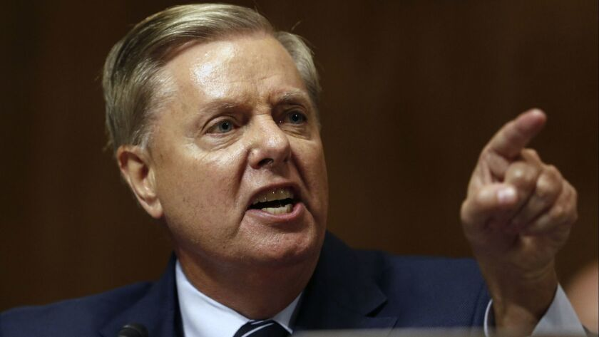 Sen. Lindsey Graham (R-S.C.) shouts during a Judiciary Committee hearing on Sept. 27.