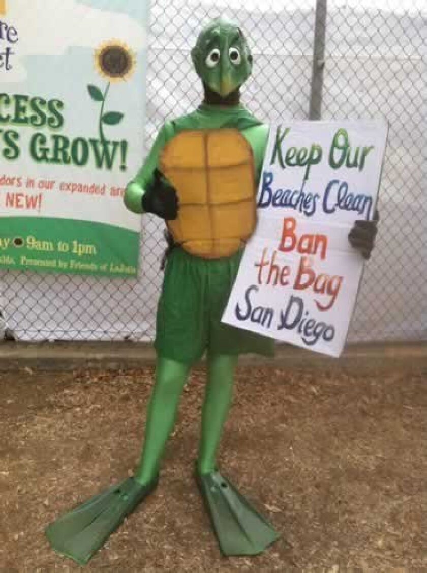 This 'turtle' was spotted stumping for the cause Sunday afternoon at La Jolla Open Aire Market. Courtesy