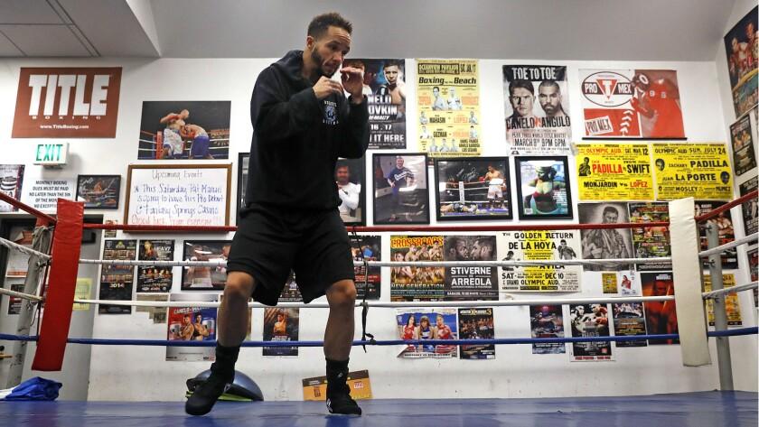 DUARTE-CA-DECEMBER 6, 2018: Pat Manuel works out at his gym in Duarte on Thursday, December 6, 2018.