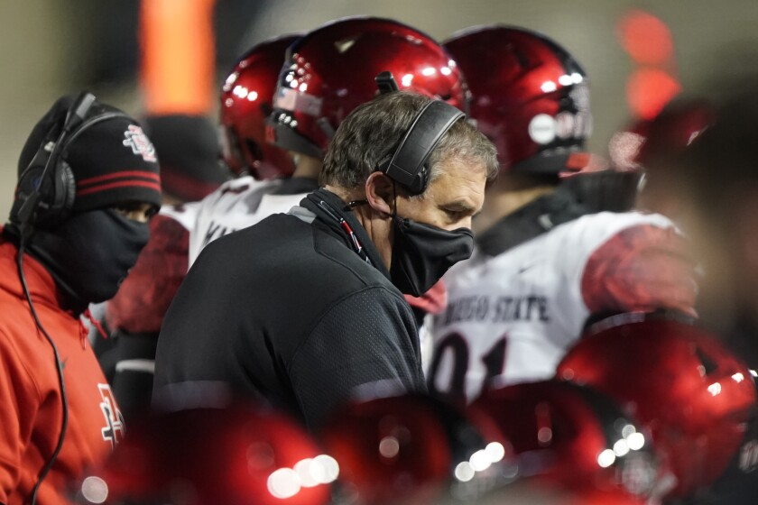 San Diego State head coach Brady Hoke talks to his defense during Saturday night's game against BYU.