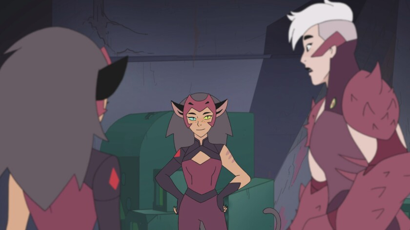 Catra, imposter Catra and Scorpia in 'She-Ra and the Princesses of Power'