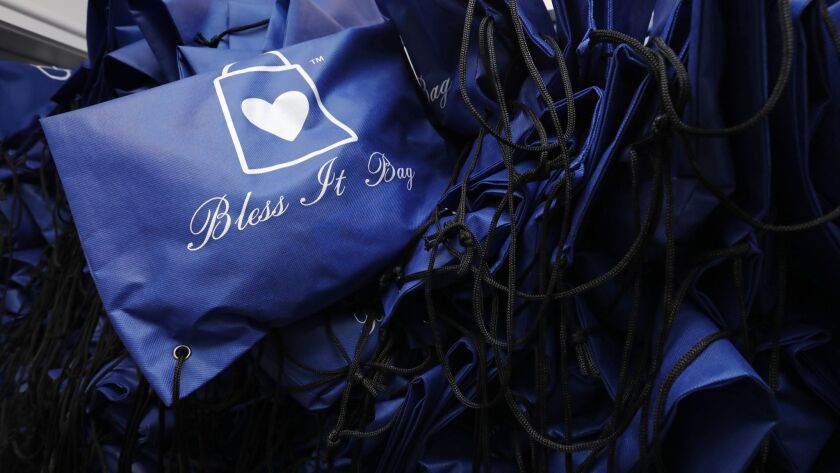 Bless It Bags, filled with items to help the homeless, were created by Bella Baskin, who is trying to persuade fellow members of the selfie generation to focus on the needs of others.