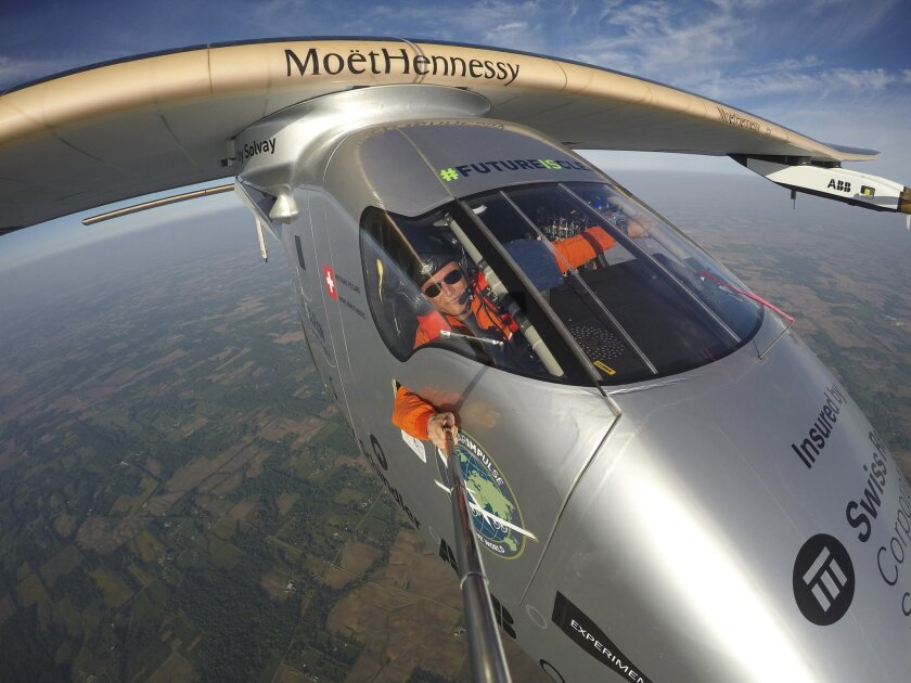 """Bertrand Piccard takes a selfie on board the """"Solar Impulse 2"""" during his flight from Dayton, Ohio to Lehigh Valley International Airport in Allentown, Pa., where he landed, Wednesday, May 25 2016. The plane was expected to make at least one more stop in the United States — in New York — before cro"""