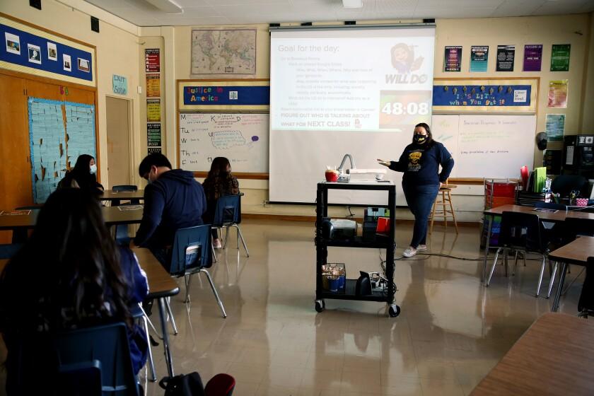 Andrea Glenn teaches a Justice in America class at Millikan High School in Long Beach.