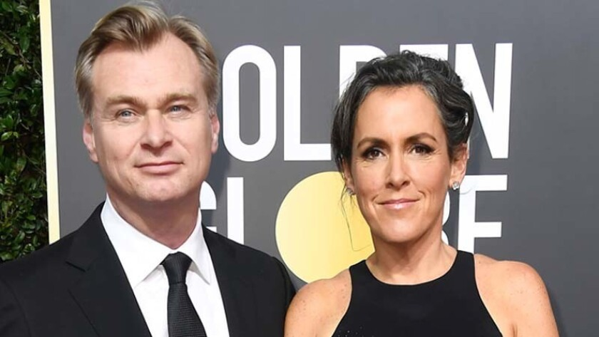 """""""Dunkirk"""" producers Christopher Nolan and Emma Thomas at the 2018 Golden Globes in January."""