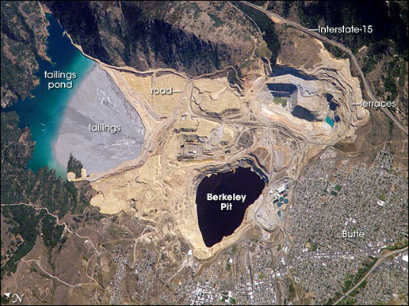 An astronaut on the International Space Station took this picture of the Berkeley Pit on August 2, 2006.
