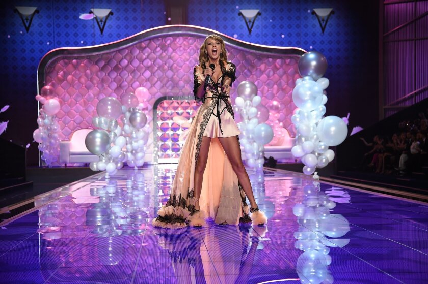 """Singer Taylor Swift during the 2014 """"Victoria's Secret Fashion Show."""""""