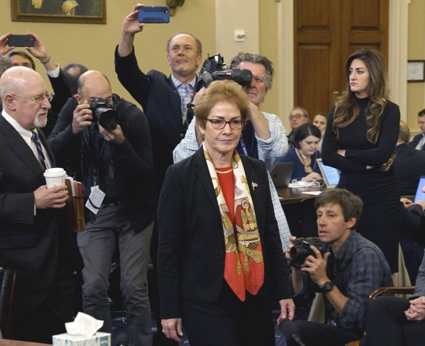 Marie Yovanovitch, former U.S. ambassador to Ukraine, testified Friday in House impeachment hearings.