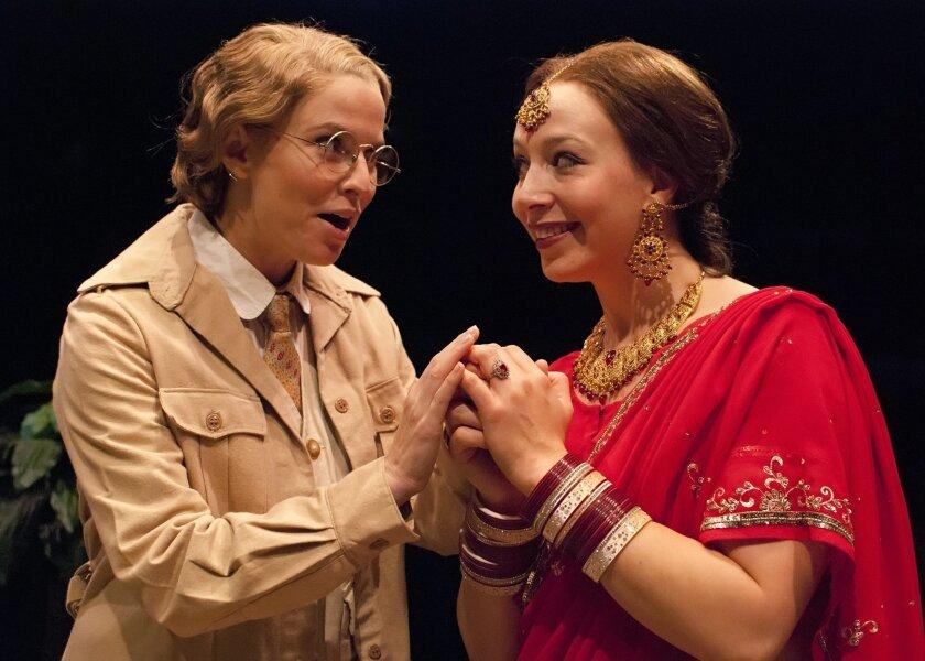 "Allison Spratt Pearce as Viola and Deborah Radloff as Olivia in the Old Globe/USD production of ""Twelfth Night."""