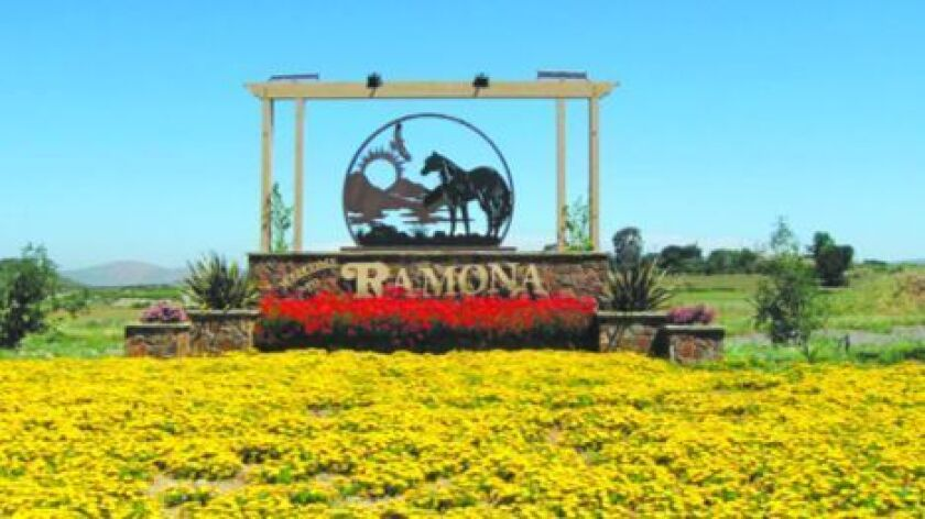 Ramona Monument stands at state Route 67 and Highland Valley Road.