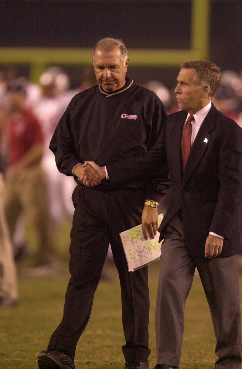 Ted Tollner (left) with former San Diego State Athletic Director Rick Bay in 2001.
