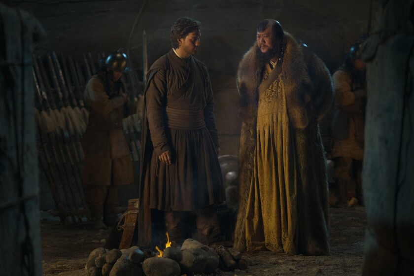 """Lorenzo Richelmy, left, and Benedict Wong in """"Marco Polo."""""""